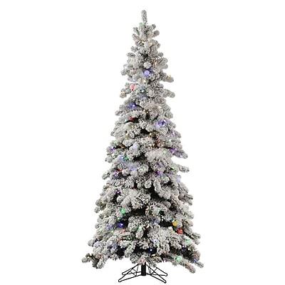 Vickerman Flocked Kodiak 8' White Spruce Artificial Christmas Tree w/ 715 LED Multi-Colored Lights