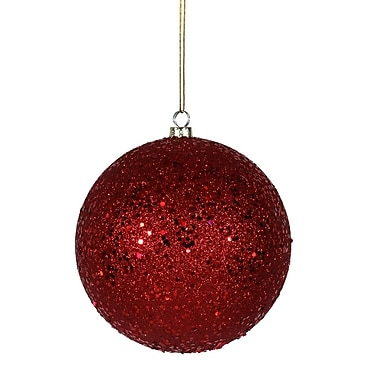Vickerman Sequin Ball Ornament (Set of 4); Red