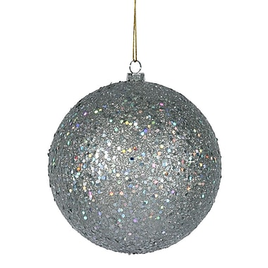 Vickerman Sequin Ball Ornament (Set of 4); Silver