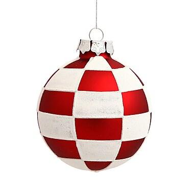 Vickerman Check Ball Christmas Ornament (Set of 4)