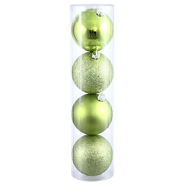 Vickerman Ball Assorted Ornament (Set of 4); Lime