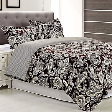 Simple Luxury Overbrook 3 Piece Reversible Duvet Cover Set; Full/Queen