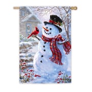 Evergreen Flag & Garden Snowman and Feathered Friend Vertical Flag