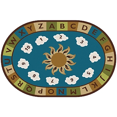 Kids Value Rugs BLue Sunny Day Learn and Play Area Rug; Oval 6' x 9'