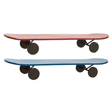 Woodland Imports Simply Lovely Metal Skate Shelf (Set of 2); 5'' H x 32'' W x 8'' D