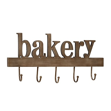 Woodland Imports Unique Wood Metal Bakery Wall Hook