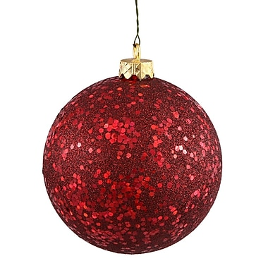 Vickerman Sequin Ball Drilled Cap Ornament; Burgundy
