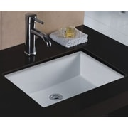 WELLS SINKWARE Rhythm Series Ceramic Rectangular Undermount Bathroom Sink w/ Overflow; White