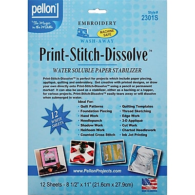 Pellon 2301S White Print-Stitch-Dissolve Embroidery Paper Stabilizer, 12/Pack