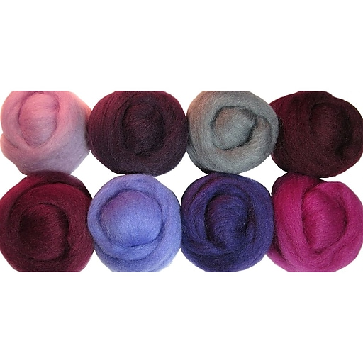 "Wistyria Editions WR-913 12"" Multicolor Wool Roving, Lilacs"