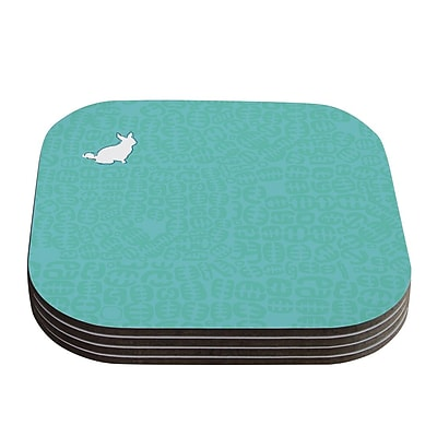 KESS InHouse Oliver by Theresa Giolzetti Coaster (Set of 4); Teal