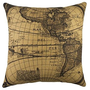 TheWatsonShop Map Burlap Throw Pillow
