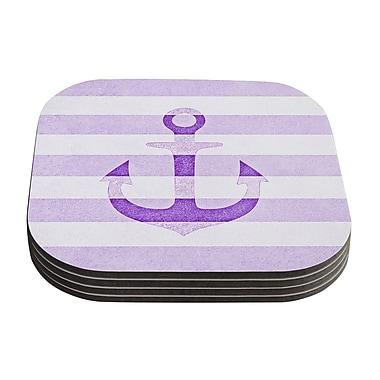 KESS InHouse Stone Vintage Anchor by Monika Strigel Coaster (Set of 4); Purple