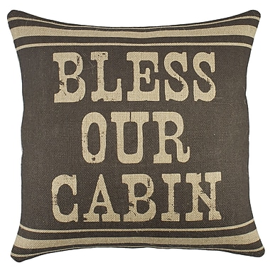 TheWatsonShop Bless Our Cabin Burlap Throw Pillow