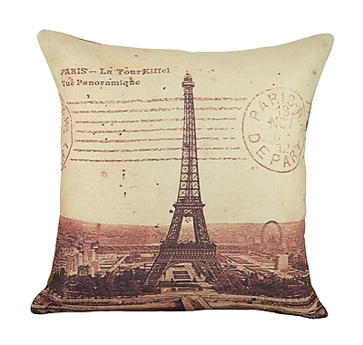 TheWatsonShop Eiffel Tower Cotton Throw Pillow
