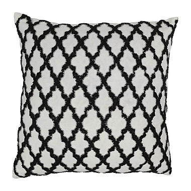 Blazing Needles Moroccan Patterned Cotton Throw Pillow; Black / Ivory