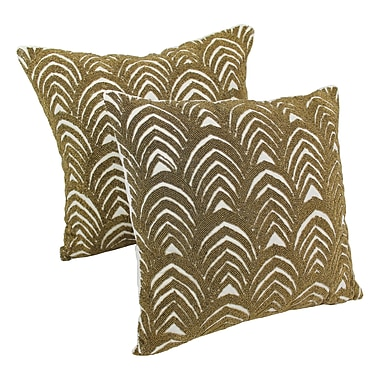 Blazing Needles Arching Fans Cotton Throw Pillow (Set of 2); Gold / Ivory