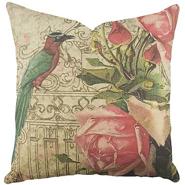 TheWatsonShop Bird w/ Roses Cotton Throw Pillow