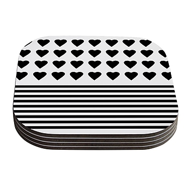 KESS InHouse Heart Stripes by Project M Coaster (Set of 4); Black/White