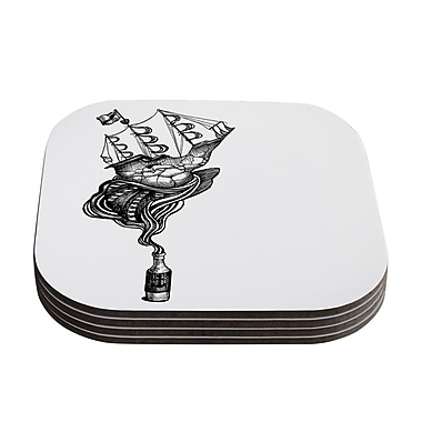 KESS InHouse All Aboard by Graham Curran Coaster (Set of 4); White