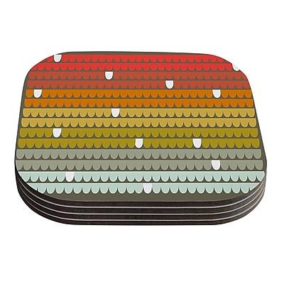 KESS InHouse Scallops by Pellerina Design Coaster (Set of 4); Rainbow