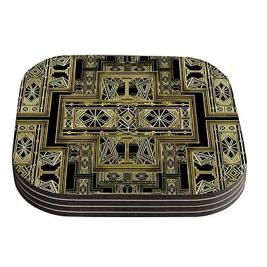 KESS InHouse Golden Art Deco by Nika Martinez Coaster (Set of 4); Black/Gold