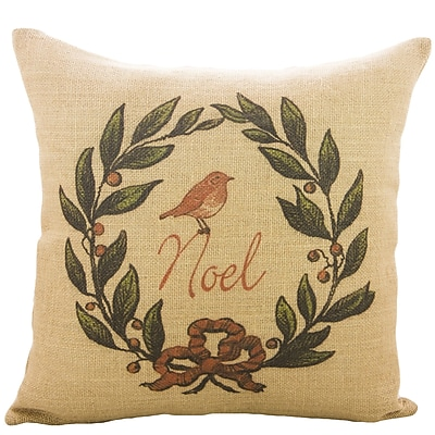 TheWatsonShop Noel Burlap Throw Pillow
