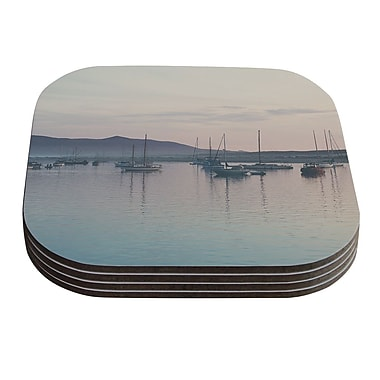 KESS InHouse As the Sun Goes Down by Laura Evans Gray Pastel Coaster (Set of 4)
