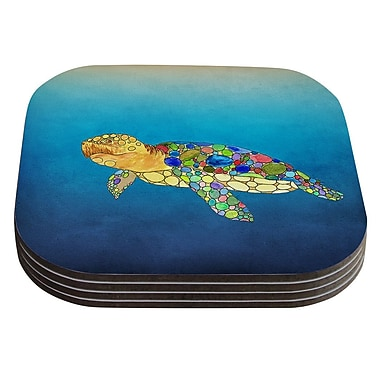 KESS InHouse Bubbles by Catherine Holcombe Blue Turtle Coaster (Set of 4)