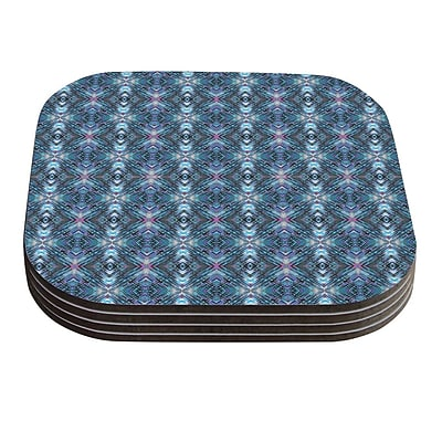 KESS InHouse Native Pattern by Danii Pollehn Blue Geometric Coaster (Set of 4)