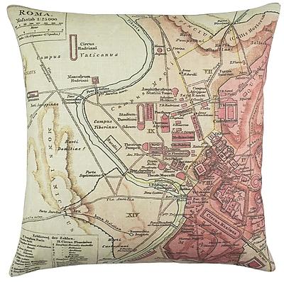 TheWatsonShop Roma Map Cotton Throw Pillow