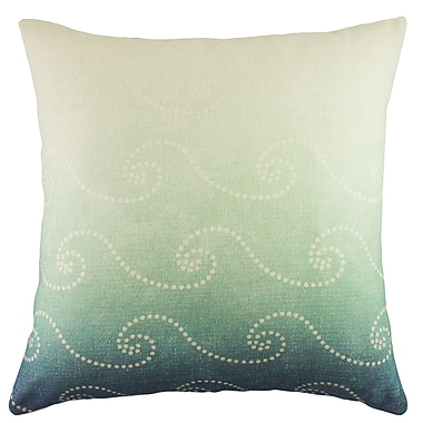 TheWatsonShop Waves Cotton Throw Pillow; Blue Ombre