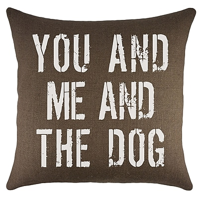 TheWatsonShop You and Me and the Dog Burlap Throw Pillow; Brown