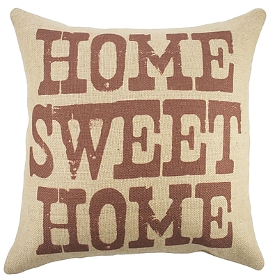 TheWatsonShop 'Home Sweet Home' Burlap Throw Pillow; Beige / Red