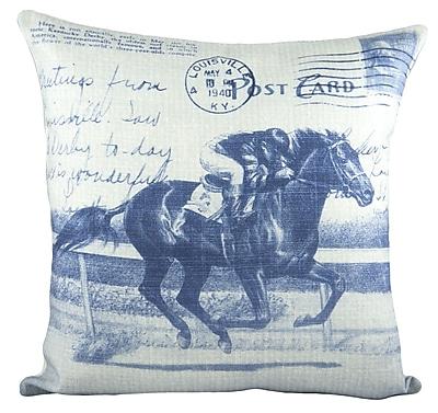 TheWatsonShop Horse Race Cotton Throw Pillow; Blue