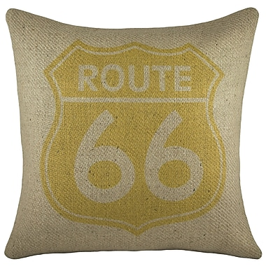 TheWatsonShop Route 66 Burlap Throw Pillow; Yellow