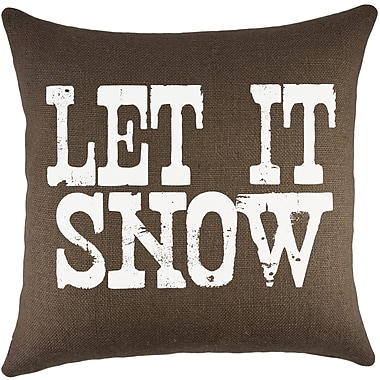 TheWatsonShop Let It Snow Burlap Throw Pillow; Brown