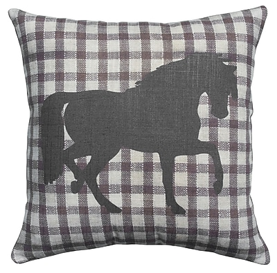 TheWatsonShop Horse Plaid Cotton Throw Pillow