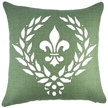 TheWatsonShop Crest Burlap Throw Pillow; White / Green