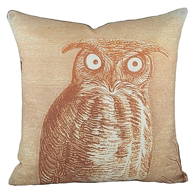 TheWatsonShop Owl Cotton Throw Pillow; Orange