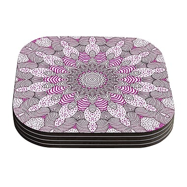 KESS InHouse Dots and Stripes by Monika Strigel Coaster (Set of 4); Pink