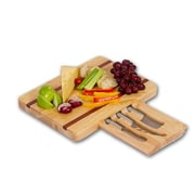 Picnic Plus by Spectrum Arezzo Wooden Cheese Board w/ 3 Stainless Steel Cheese Knives