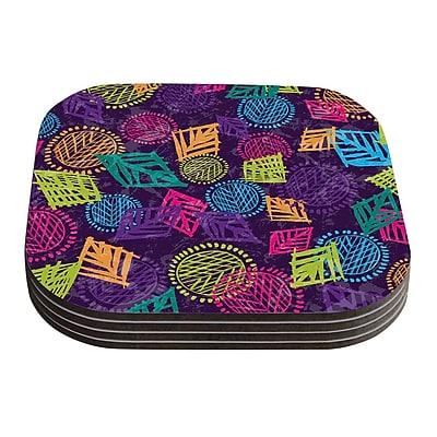KESS InHouse African Beat by Emine Ortega Coaster (Set of 4); Purple