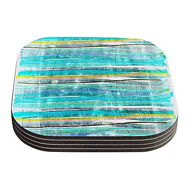 KESS InHouse Fancy Stripes by Frederic Levy-Hadida Coaster (Set of 4); Aqua