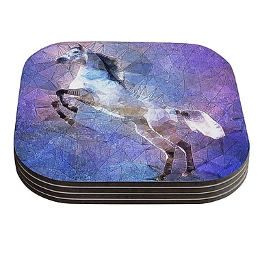 KESS InHouse Abstract Horse by Ancello Coaster (Set of 4)