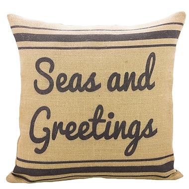 TheWatsonShop Seas and Greetings Burlap Throw Pillow