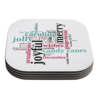 KESS InHouse Holiday Traditions by Sylvia Cook Christmas Typography Coaster (Set of 4)