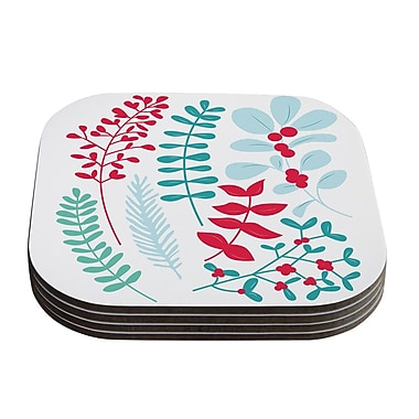 KESS InHouse Deck the Hollies Coaster (Set of 4); Red/Teal