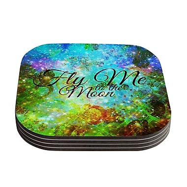 KESS InHouse Fly Me To The Moon by Ebi Emporium Coaster (Set of 4)