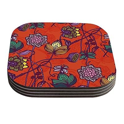 KESS InHouse Garden Blooms Hot Orange by Gill Eggleston Coaster (Set of 4)